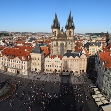 View of Old Town Square in Prague from Old Town Hall Tower