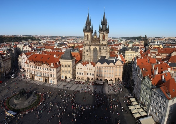 view of a large open city square from a tall clock tower