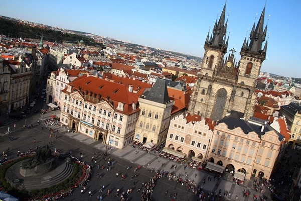 Old Town Square in Prague viewed from a tall tower
