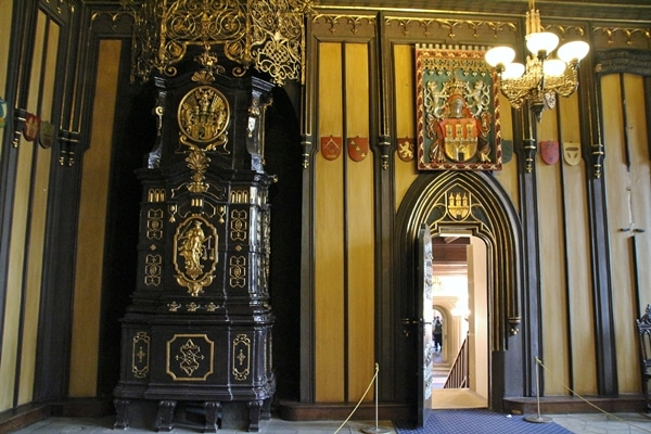 ornate furniture and emblems in a fancy room