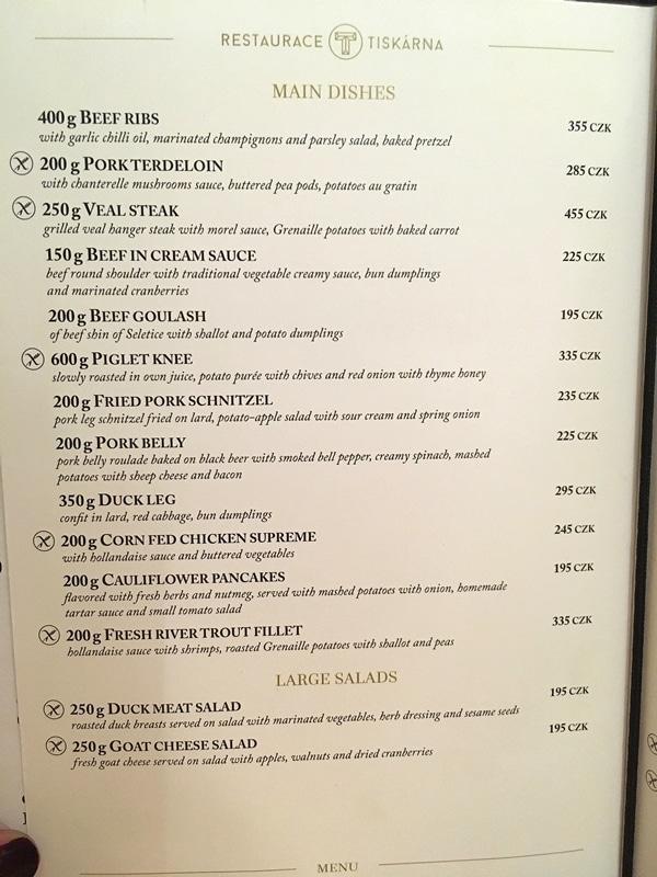 text on a restaurant menu