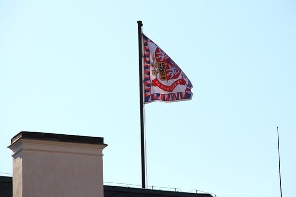 a flag on top of a building