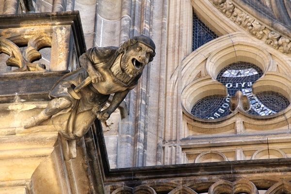 closeup of a gargoyle on a church