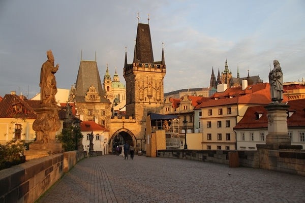 Lesser Town Bridge Tower and Prague Castle at dawn