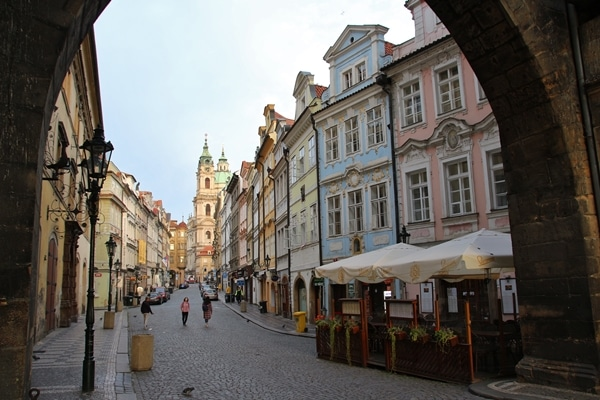 a quiet street in the morning in Prague