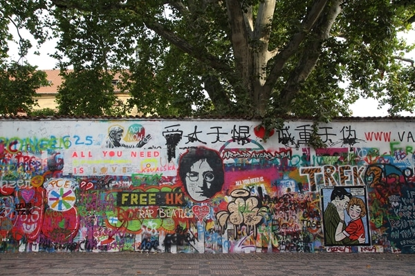 a graffiti wall under a tree