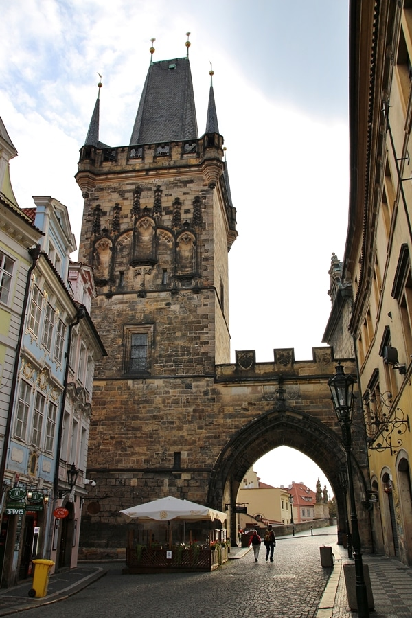 an ornate stone tower in Prague