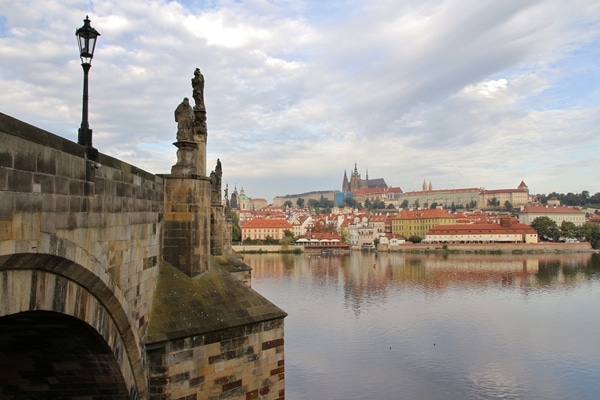 view of Prague Castle from across the river