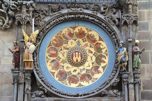 closeup of part of the Prague Astronomical Clock