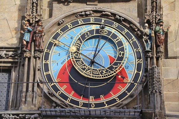 closeup of the famous Prague Astronomical Clock