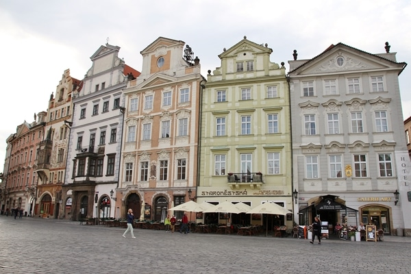 colorful buildings in a Prague square