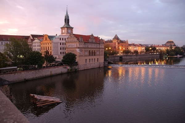 the Vltava River in Prague at dawn