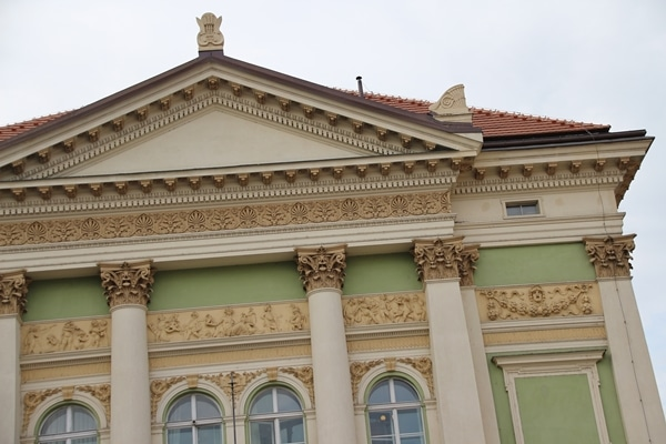 closeup of ornate detailing on an old building