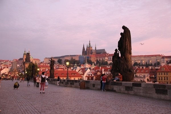view of Prague Castle from the Charles Bridge at dawn