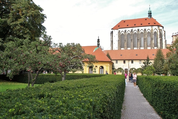 Franciscan Garden in Prague with a church in the distance