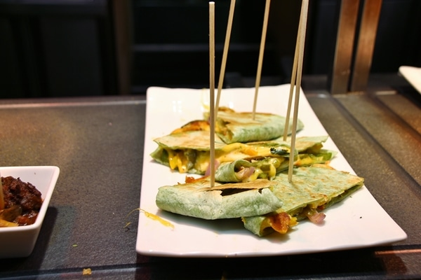 quesadillas skewered with wooden sticks