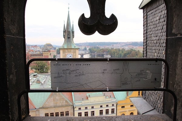a rooftop view of Prague through a window opening