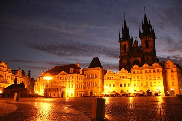 an empty square in Prague at dawn