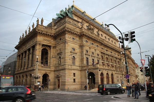 the exterior of the National Opera building in Prague