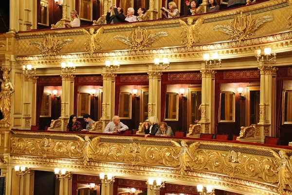 close up of box seats in an opera house