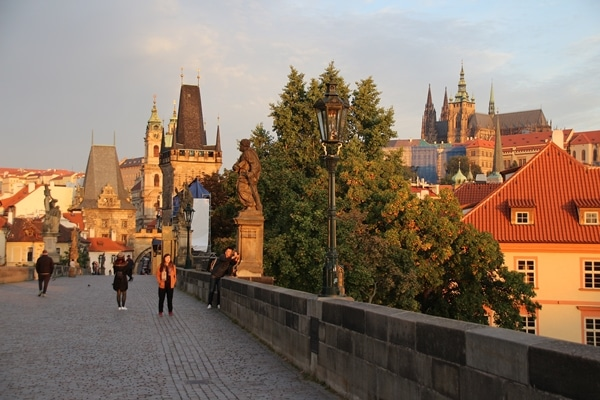 view of Prague Castle at sunrise