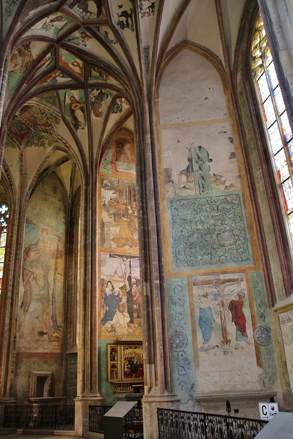 large colorful frescoes inside a church