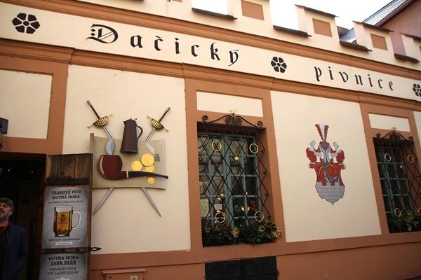 exterior of a medieval Czech restaurant