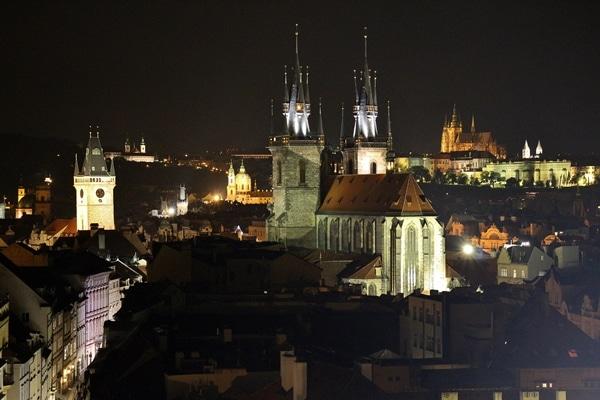 nighttime view of Prague