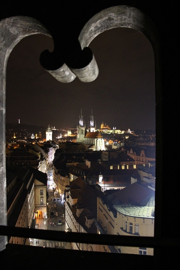 A view of Prague at night