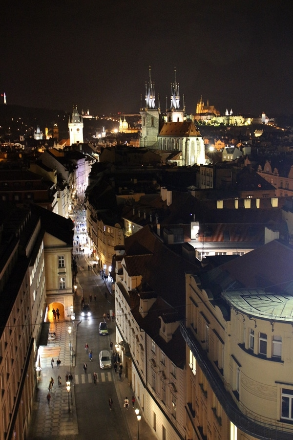 A view of Prague lit up at night