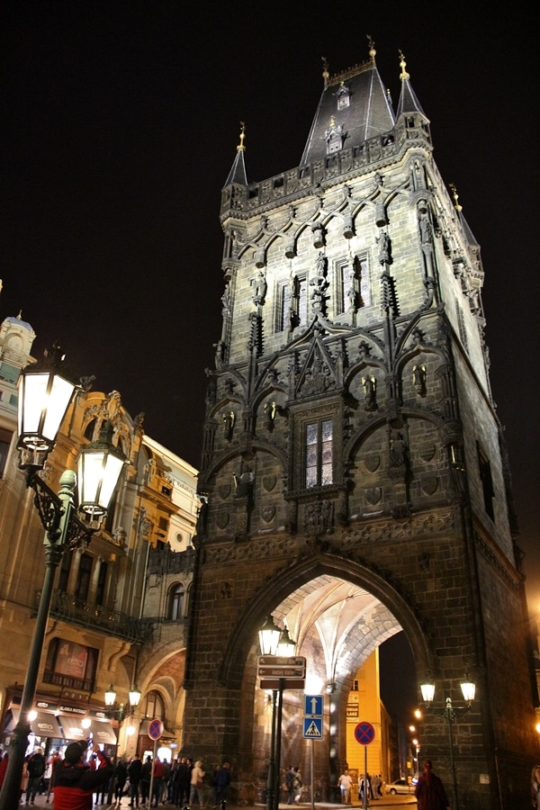 The Powder Tower in Prague at night