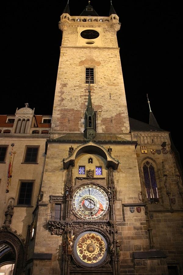 A clock tower at night