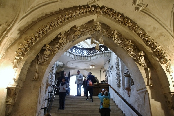 the entrance of a bone church
