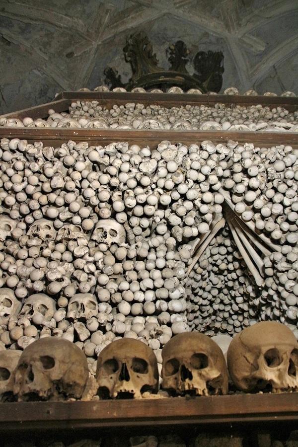 a pile of human bones in a bone church