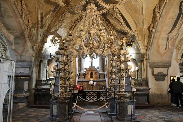 a chandelier made of human bones