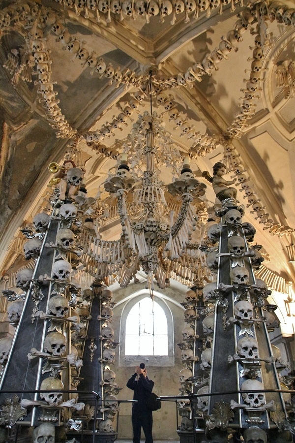 the interior of a bone church with decorations made of bones