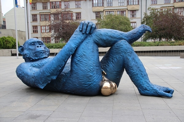 A giant statue of a blue King Kong