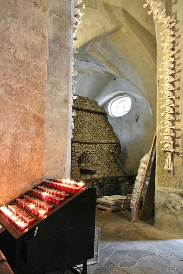 altar in a bone church