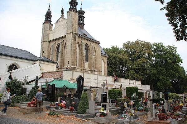 a cemetery next to a church