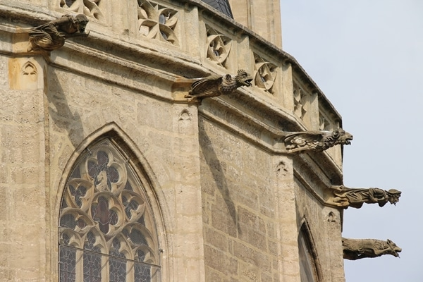 gargoyles outside a large stone church