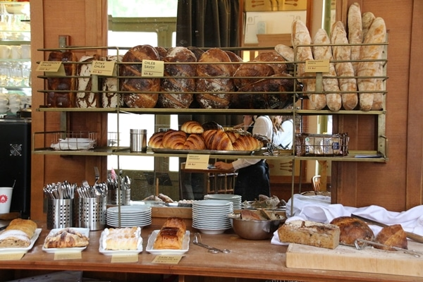 baskets of breads and pastries in a restaurant