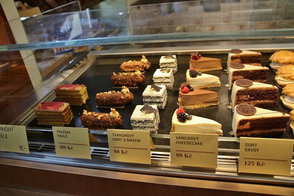 display case with pastries
