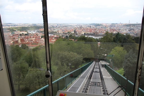 A view of a Prague from a funicular
