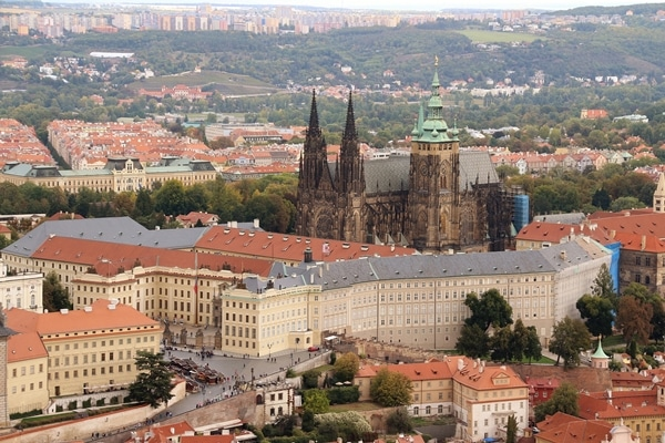 a closeup view of Prague Castle from Petrin Hill