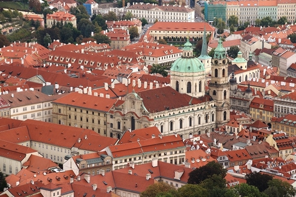 view of a church in Prague from a hilltop