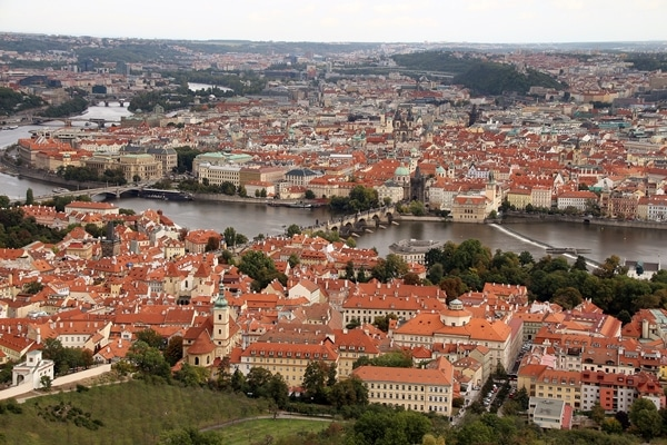 view of Prague from hilltop