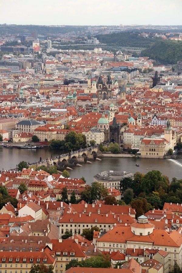 view of the Charles Bridge and Old Town Prague from Petrin Hill
