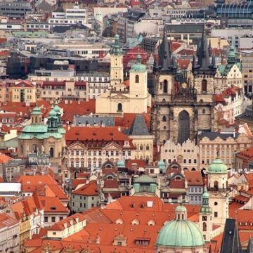 View of Old Town Square in Prague from Petrin Hill