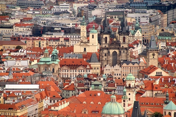 view of Old Town in Prague from a distance