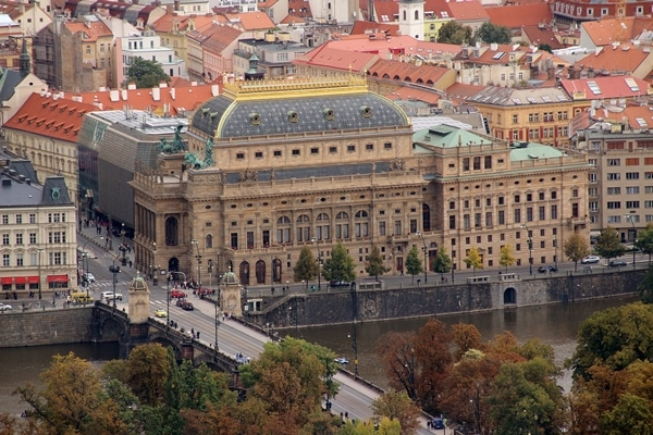 the National Theatre in Prague from across the river